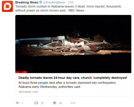 Twitter picture showing a destroyed church from the Alabama Tornado on Wednesday 30th November