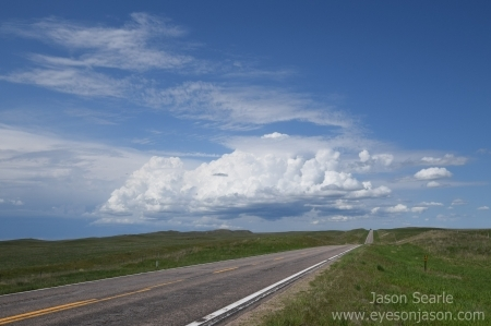 The cell that started our main journey, with the Wyoming storms to the left of the picture