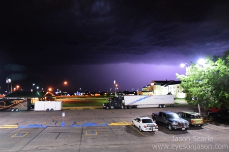 Frequent lightning on a severe warned storm in North Platte, Nebraska