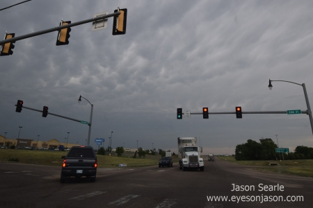 Mammatus starting to show over Guymon, Oklahoma