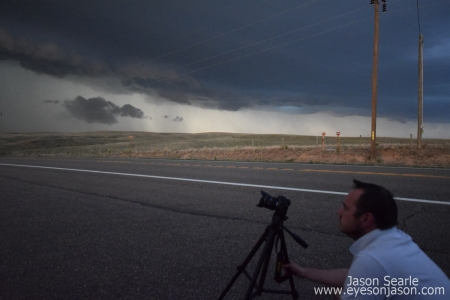 Adam Simpkins, Wiltshire Storm Chaser photographing the storm