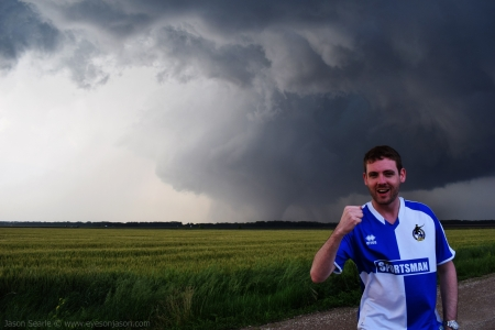 Jason in front of the Chapman Tornado
