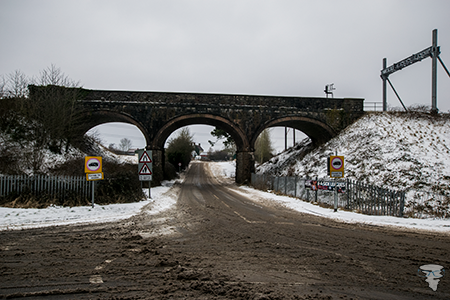 Westerleigh Road viaduct in the snow