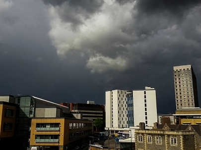 Stormy view from the Bristol Eye Hospital