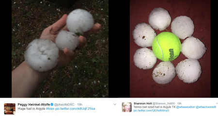 Tennis ball sized hail stones in Argyle, Texas