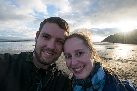Jason and Hannah on the beach at Pendine Sands