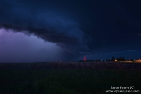 Nightime HP Supercell in Kansas